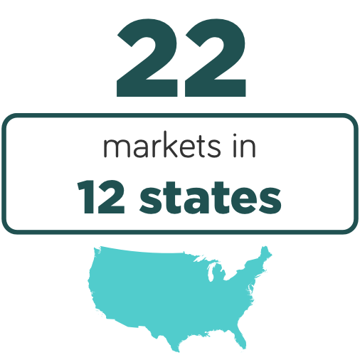 22 markets in 12 states infographic