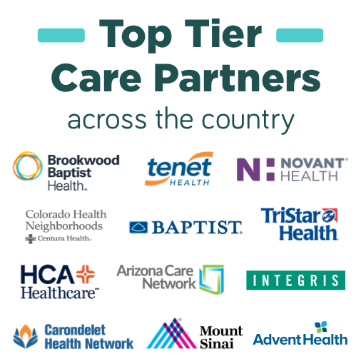Top tier care partners' logos infographic